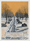 """Dome yearbook 1916, page 13:  Drawing of Main Quad in winter with snow at sunset..Caption:  """"For thee they clarion north wind shrill blow Queen of the Winter, garmented in snow."""".Drawing by Joseph Patrick Flynn.  Poem by Rev. Thomas E. Burke, CSC..Image from the University of Notre Dame Archives."""