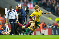 Nick Cummins of Australia in action during the Cook Cup between England and Australia, part of the QBE International series, at Twickenham on Saturday 17th November 2012 (Photo by Rob Munro)