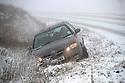 22/01/19<br /> <br /> A car lies in a ditch on the A54 Cat and Fiddle Road near Buxton the Derbyshire Peak District.<br /> <br /> All Rights Reserved, F Stop Press Ltd +44 (0)7765 242650  www.fstoppress.com rod@fstoppress.com