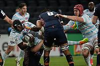 4th April 2021; Paris La Défense Arena, Nanterre, Paris, France; European Champions Cup Rugby, Racing 92 versus Edinburgh;  I Diallo ( 6 - Racing ) tackles V Mata ( 8 - Edinburgh ) with BERNARD LE ROUX ( 4 - Racing )