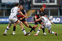 Gavin Henson of Dragons offloads the ball as he is tackled by Jules Gimbert of Bordeaux Begles during the European Challenge Cup match between Dragons and Bordeaux Begles at Rodney Parade, Newport, Wales, UK. 20 January 2018