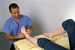 Reflexology Alternative Zone Therapy woman being treated. London England 1990s