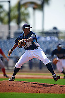 GCL Rays pitcher Francisco Mena (41) delivers a pitch during the first game of a doubleheader against the GCL Red Sox on August 4, 2015 at Charlotte Sports Park in Port Charlotte, Florida.  GCL Red Sox defeated the GCL Rays 10-2.  (Mike Janes/Four Seam Images)