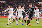 Real Madrid's Carlos Henrique Casemiro, Lucas Vazquez and Mateo Kovacic and Real Sociedad's Sergio Canales and David Zurutuza during La Liga match between Real Madrid and Real Sociedad at Santiago Bernabeu Stadium in Madrid, Spain. January 29, 2017. (ALTERPHOTOS/BorjaB.Hojas)