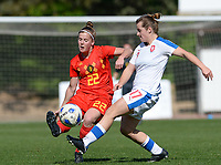 20180228 - LARNACA , CYPRUS :  Belgian Laura Deloose (left) pictured in a duel with Czech Tereza Szewieczkova (r) during a women's soccer game between The Belgian Red Flames and the Czech Republic , on wednesday 28 February 2018 at GSZ Stadium in Larnaca , Cyprus . This is the first game in group B for Belgium during the Cyprus Womens Cup , a prestigious women soccer tournament as a preparation on the World Cup 2019 qualification duels. PHOTO SPORTPIX.BE   DAVID CATRY