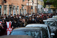 """Rome, Italy. 17th Apr, 2021. Today, activists, citizens of San Lorenzo, representatives of movements, actors, musicians, students, workers, artists held a march and a rally (1.) to mark and celebrate the 10th anniversary of the occupation of Nuovo Cinema Palazzo in Rome's San Lorenzo district. <br /> The Nuovo Cinema Palazzo was occupied on the 15th of April 2011, when citizens, movements, workers of the entertainment industry reopened the former """"Palazzo Cinema"""" to prevent the opening of a casino/gambling space. The illegal occupation was intended as a public hub of art, culture, sport and politics, an open place for exchange, discussion, studies, caring and sharing.<br /> The eviction of the Nuovo Cinema Palazzo in Piazza dei Sanniti was completed by the Italian police forces in the early morning of the 25th of November 2020. Since then, numerous events (included in the footnotes) have been organised to demonstrate against the violent reaction of the Police forces and to call for a proper answer by local and national Institutions to give the Cinema's space back to the San Lorenzo Community.    <br /> <br /> Footnotes & Links:<br /> 1. http://bit.do/fQw4J <br /> 2. Demo And Clashes Against Nuovo Cinema Palazzo Eviction in Rome's San Lorenzo: http://bit.do/fLxgz <br /> Previous Public Assemblies: http://bit.do/fLCr3 & http://bit.do/fL2VR & http://bit.do/fQw5P<br /> 14.04.2018 - Nuovo Cinema Palazzo's Concert: """"7 Anni di CasiNò - 7 Anni Di Liberazione"""" http://bit.do/fQw5V"""