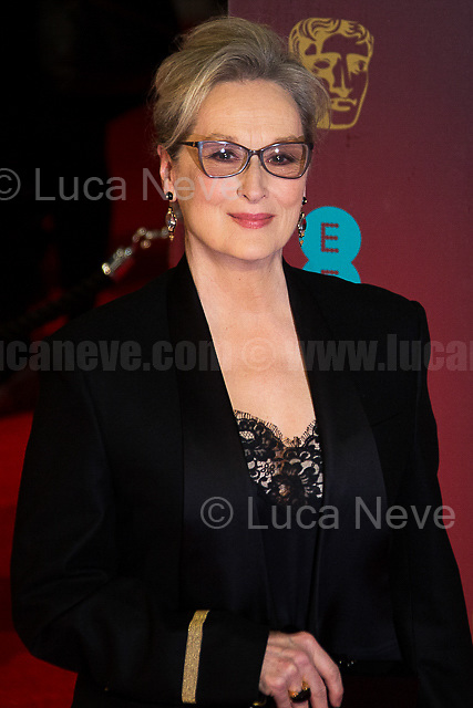 Meryl Streep.<br /> <br /> London, 12/02/2017. Red Carpet of the 2017 EE BAFTA (British Academy of Film and Television Arts) Awards Ceremony, held at the Royal Albert Hall in London.<br /> <br /> For more information please click here: http://www.bafta.org/
