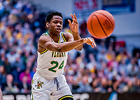 12 March 2019: University of Vermont Catamount Guard Ben Shungu, a Redshirt Sophomore from Burlington, VT, in action against the Binghamton University Bearcats at Patrick Gymnasium in Burlington, Vermont. The top-seeded Catamounts advanced to their fourth-straight America East conference championship game, defeating the Bearcats 84-51. Mandatory Credit: Ed Wolfstein Photo *** RAW (NEF) Image File Available ***