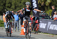 Connor Brown wins the Under-23 and Senior Men's road race, Carterton-Martinborough-Gladstone circuit, on day two of the 2018 NZ Age Group Road Cycling Championships in Carterton, New Zealand on Sunday, 22 April 2018. Photo: Dave Lintott / lintottphoto.co.nz