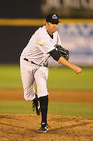 Trenton Thunder relief pitcher Josh Schmidt #41 delivers a pitch during a game against the Portland Sea Dogs at Waterfront Park on May 4, 2011 in Trenton, New Jersey.  Trenton defeated Portland by the score of 7-1.  Photo By Mike Janes/Four Seam Images