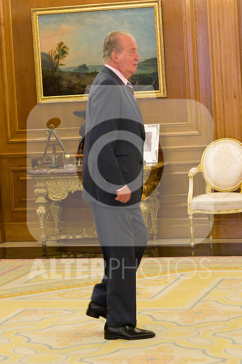 03.07.2012. King Juan Carlos I of Spain attends the Dominican Republic's President Leonel Fernandez and his wife Margarita Cedeño in the Zarzuela Palace. In the image Juan Carlos I de Borbon  (Alterphotos/Marta Gonzalez)