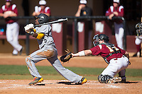 Cornell Nixon (5) of the Kennesaw State Owls follows through on his swing against the Winthrop Eagles at the Winthrop Ballpark on March 15, 2015 in Rock Hill, South Carolina.  The Eagles defeated the Owls 11-4.  (Brian Westerholt/Four Seam Images)