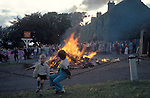 Baal Fire Whalton Northumberland UK. St Johns Eve 23 June annually, outside Beresford Arms in centre of village. 1971 or 1972<br /> The tradition was to take a lighted ember home ensure good luck the following year.