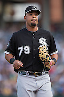 Chicago White Sox first baseman Jose Abreu (79) jogs off the field between innings of the exhibition game against the Charlotte Knights at BB&T Ballpark on April 3, 2015 in Charlotte, North Carolina.  The Knights defeated the White Sox 10-2.  (Brian Westerholt/Four Seam Images)