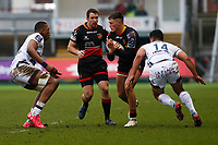 Jared Rosser of Dragons is challenged by Faasiu Fuatai of Bordeaux Begles during the European Challenge Cup match between Dragons and Bordeaux Begles at Rodney Parade, Newport, Wales, UK. 20 January 2018
