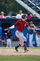 Mahoning Valley Scrappers third baseman Nolan Jones (10) hits a single during the first game of a doubleheader against the Batavia Muckdogs on September 4, 2017 at Dwyer Stadium in Batavia, New York.  Mahoning Valley defeated Batavia 4-3.  (Mike Janes/Four Seam Images)