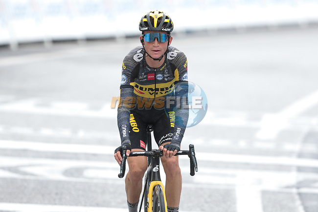 Sepp Kuss (USA) Jumbo-Visma crosses the finish line at the end of Stage 16 of the 2021 Tour de France, running 169km from Pas de la Case to Saint-Gaudens, Andorra. 13th July 2021.  <br /> Picture: Colin Flockton | Cyclefile<br /> <br /> All photos usage must carry mandatory copyright credit (© Cyclefile | Colin Flockton)