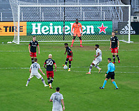 WASHINGTON, DC - NOVEMBER 8: Moses Nyeman #27 of D.C. United passes the ball during a game between Montreal Impact and D.C. United at Audi Field on November 8, 2020 in Washington, DC.