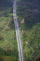 aerial photograph of the Pan-American Highway passing through forest in Panama | fotografía aérea de la Carretera Panamericana que pasa por el bosque en Panamá