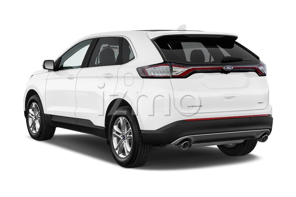 Car pictures of rear three quarter view of 2015 Ford Edge Titanium 5 Door SUV Angular Rear