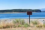 Blank sign on beach.  Fort Flagler State Park, Mystery Bay,  Marrowstone Island, Washington.