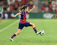 AUSTIN, TX - JUNE 16: Kelley O'Hara #5 of the United States brings the ball up the field during a game between Nigeria and USWNT at Q2 Stadium on June 16, 2021 in Austin, Texas.