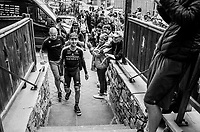 stage winner Mikel Nieve (ESP/Mitchelton-Scott)  returns to his teammates in the hotel near the finish<br /> <br /> stage 20: Susa - Cervinia (214km)<br /> 101th Giro d'Italia 2018