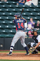 Lucas Herbert (14) of the Rome Braves at bat against the Hickory Crawdads at L.P. Frans Stadium on May 12, 2016 in Hickory, North Carolina.  The Braves defeated the Crawdads 3-0.  (Brian Westerholt/Four Seam Images)