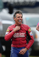 Mar. 10, 2012; Gainesville, FL, USA; NHRA pro stock motorcycle rider Hector Arana Sr during qualifying for the Gatornationals at Auto Plus Raceway at Gainesville. Mandatory Credit: Mark J. Rebilas-