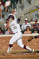 Texas A&M Aggie designated hitter Mitchell Nau #30 swings during the NCAA Tournament Regional baseball game against the Dayton Flyers on June 1, 2012 at Blue Bell Park in College Station, Texas. The Aggies defeated the Flyers 4-1. (Andrew Woolley/Four Seam Images).