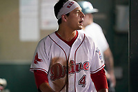 Designated hitter Nick Yorke (4) of the Greenville Drive in the dugout during a game against the Hickory Crawdads on Thursday, August 26, 2021, at Fluor Field at the West End in Greenville, South Carolina. (Tom Priddy/Four Seam Images)