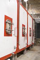 Chateau de Lascaux, Vacquieres village. Pic St Loup. Languedoc. Concrete fermentation and storage vats. France. Europe.