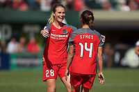 Portland, OR - Saturday September 30, 2017: Amandine Henry, Ashleigh Sykes celebrate a goal during a regular season National Women's Soccer League (NWSL) match between the Portland Thorns FC and the Chicago Red Stars at Providence Park.