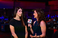 Philadelphia, PA - Thursday January 18, 2018: Yael Averbuch, Marisa Pilla during the 2018 NWSL College Draft at the Pennsylvania Convention Center.