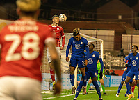 11th February 2021; Oakwell Stadium, Barnsley, Yorkshire, England; English FA Cup 5th round Football, Barnsley FC versus Chelsea; Reece James jumps but is beaten for a header by Mads Juel Andersen of Barnsley