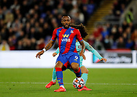 27th September 2021;  Selhurst Park, Crystal Palace, London, England; Premier League football, Crystal Palace versus Brighton & Hove Albion: Jordan Ayew of Crystal Palace passing the ball into midfield