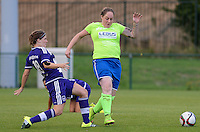 20150904 - TUBIZE , BELGIUM : Anderlecht's Marlies Verbruggen pictured in a duel with Genk's Karin Stevens - Stevie Malagrida during a soccer match between the women teams of RSC Anderlecht and KRC Genk Ladies  , on the second matchday of the 2015-2016 SUPERLEAGUE season, Friday 4  September 2015 . PHOTO DAVID CATRY