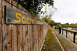 A spray painted social distance reminder at Watnall Road. Hucknall Town v Heanor Town, 17th October 2020, at the Watnall Road Ground, East Midlands Counties League. Photo by Paul Thompson.