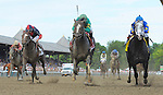 Honor Code (no. 1), ridden by Javier Castellano and trained by Claude McGaughey III, wins the 88th running of the grade 1 Whitney Stakes for three year olds and upward on August 8, 2015 at Saratoga Race Course in Saratoga Springs, New York. (Bob Mayberger/Eclipse Sportswire)