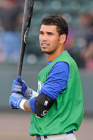 Designated hitter Humberto Arteaga (1) of the Lexington Legends in a game against the Greenville Drive on Wednesday, June 4, 2014, at Fluor Field at the West End in Greenville, South Carolina. Lexington won, 9-3. (Tom Priddy/Four Seam Images)