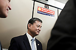 October 23, 2009. Durham, North Carolina.. Eric Shinseki, Secretary of Veterans Affairs for the Obama administration, visited Durham to meet with officials and veterans at the VA hospital, as well as to attend several events and meetings on the Duke University campus.. Sec. Shinseki rides in an elevator at the VA hospital on his way to meet with patients.
