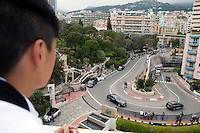 Looking down to the Hairpin Turn of the Monaco Grand Prix, one of the best-known bends of the race, from the roof of the Fairmont Hotel, Monte Carlo, Monaco, 19 April 2013