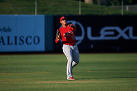 AZL Angels left fielder Rainier Rivas (28) makes a throw to the infield during an Arizona League game against the AZL Padres 1 on July 16, 2019 at Tempe Diablo Stadium in Tempe, Arizona. The AZL Padres 1 defeated the AZL Angels 3-1. (Zachary Lucy/Four Seam Images)