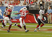 Aug 18, 2007; Glendale, AZ, USA; Houston Texans wide receiver Charlie Adams (19) catches a pass for a touchdown in the third quarter against the Arizona Cardinals at University of Phoenix Stadium. Mandatory Credit: Mark J. Rebilas-US PRESSWIRE Copyright © 2007 Mark J. Rebilas
