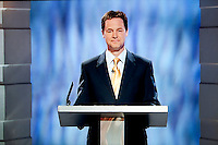 A screen grab of Nick Clegg, the Liberal Democrat party leader, during the UK's first ever party leaders' general election TV debate held in Manchester. .