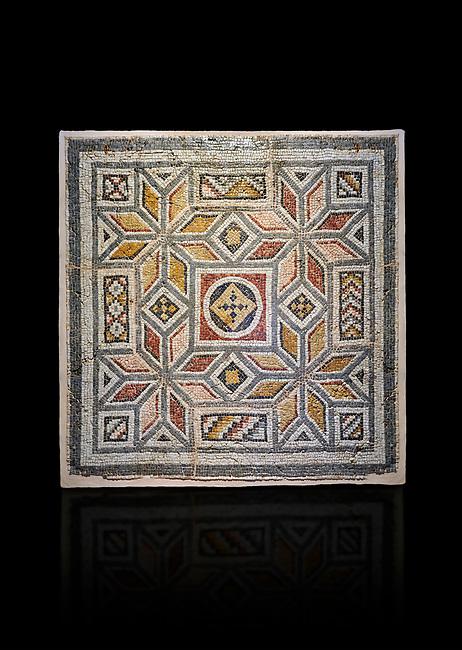 Roman mosaics - Geometric Mosaic. House of Okeanos, Ancient Zeugama, 2nd - 3rd century AD . Zeugma Mosaic Museum, Gaziantep, Turkey.   Against a black background.