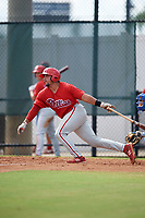 Philadelphia Phillies Edgar Cabral (3) at bat during an Instructional League game against the Toronto Blue Jays on September 30, 2017 at the Carpenter Complex in Clearwater, Florida.  (Mike Janes/Four Seam Images)