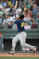 First baseman Jeremy Vasquez (20) of the Columbia Fireflies bats in a game against the Greenville Drive on Tuesday, April 17, 2018, at Fluor Field at the West End in Greenville, South Carolina. Columbia won, 7-5. (Tom Priddy/Four Seam Images)