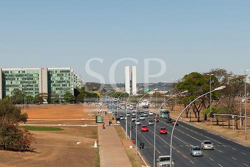 Brasilia, Brazil. Traffic, Eixo Central, Ministries, Congress buildings,