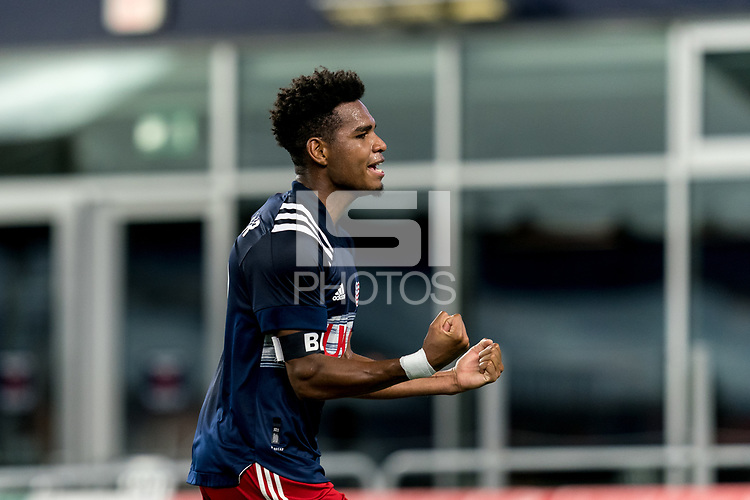 FOXBOROUGH, MA - SEPTEMBER 09: Orlando Sinclair #99 of New England Revolution II celebrates his goal during a game between Chattanooga Red Wolves SC and New England Revolution II at Gillette Stadium on September 09, 2020 in Foxborough, Massachusetts.